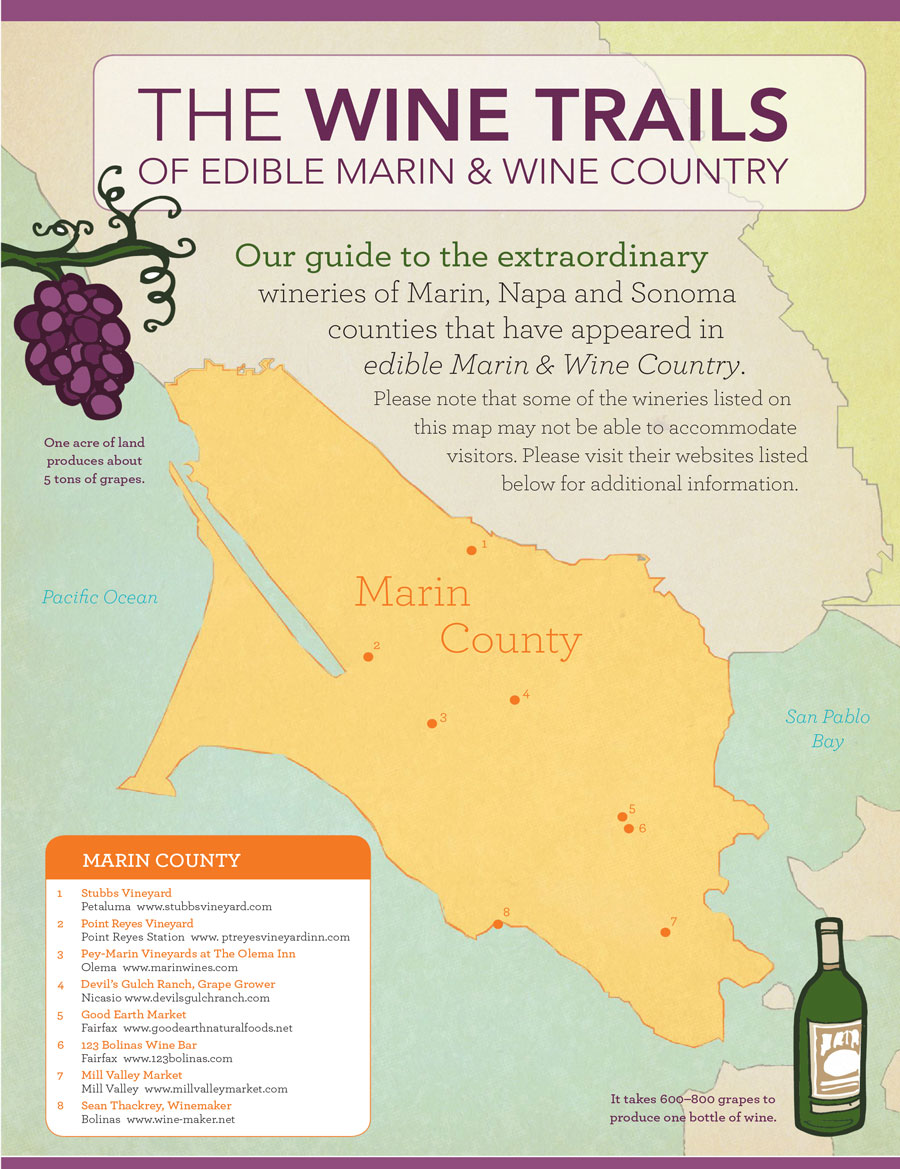 Wine trails map of Marin county